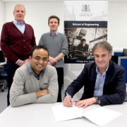 Arralis signing. Back - Stuart Smith, UoL, and Dr Peter Ludlow, Arralis. Front - Dr Saket Srivastava, UoL, and Mike Gleaves, Arralis