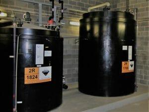 Bulk chemical storage tanks for acid and caustic storage