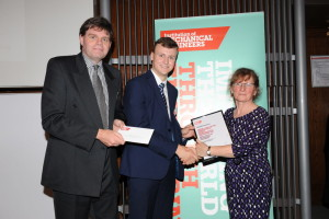 Andrew Robinson receiving his IMechE scholarship